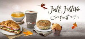 fall festive feast, pumpkin spice, pumpkin spice muffin, pumpkin spice bagel, pumpkin spice cappuccino, butternut squash soup, cream cheese sandwich